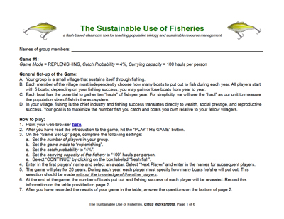 Printables Population Dynamics Worksheet the sustainable use of fisheries resource page classroom worksheets